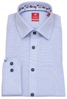 Hemd - Slim Fit - Kontrastknöpfe - blau / weiß