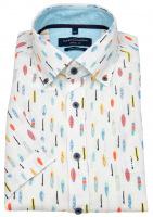 Kurzarmhemd - Casual Fit - Button Down - Leinen - mehrfarbig