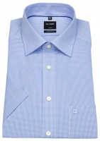 Kurzarmhemd - Luxor Modern Fit - Check - hellblau / weiß