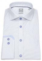 Hemd - Extra Slim - Haikragen - Print - weiß / blau
