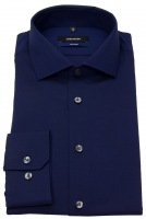 Hemd - Tailored Fit - Haifischkragen - Fil-a-Fil - dunkelblau