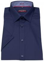 Kurzarmhemd - Body Fit - Patch - dunkelblau