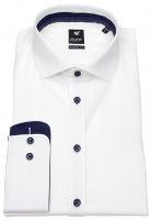 Hemd - Modern Fit - Haikragen - Kontrastknöpfe - weiß