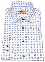 Hemd - Modern Fit - Print - weiß / dunkelblau