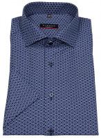 Kurzarmhemd - Modern Fit - Print - dunkelblau / weiß