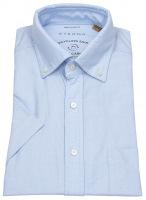 Kurzarmhemd - Regular Fit - Button Down - We Care - hellblau