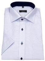 Kurzarmhemd - Comfort Fit - fein kariert - hellblau / weiß
