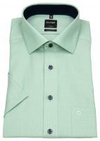 Kurzarmhemd - Modern Fit - Faux Uni - grün / weiß