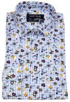 Trachtenhemd - Print - blau / weiß kariert