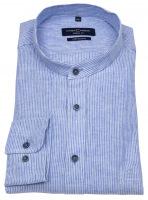 Leinenhemd - Casual Fit - Stehkragen - blau / weiß