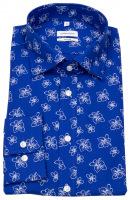 Hemd - Shaped Fit - Under Button Down - Print - blau / weiß