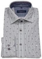 Hemd - Comfort Fit - Streifen - Print - schwarz