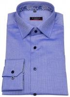 Hemd - Modern Fit - Patch - Struktur - Kontrastknöpfe - blau