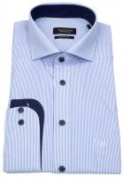 Hemd - Regular Fit - Kontrastknöpfe - Streifen - hellblau weiß