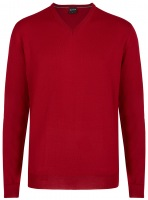 Pullover - Merinowolle - V-Ausschnitt - rot