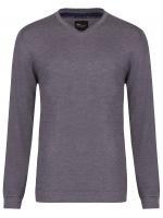 Pullover - Slim - V-Ausschnitt - Merino - grau
