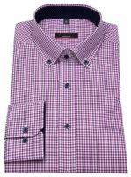 Hemd - Modern Fit - Button Down - Patch - lila / weiß