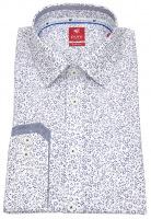 Hemd - Slim Fit - Floraler Print - dunkelblau / weiß