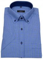 Kurzarmhemd - Comfort Fit - Button Down - kariert - blau