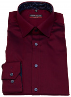 Hemd - Body Fit - Patch - Chambray - rot - 69cm Arm