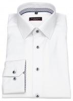 Hemd - Modern Fit - Cover Shirt - Kontrastknöpfe - weiß
