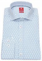 Hemd - Slim Fit - Print - Stretch - blau / weiß