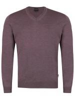 Pullover - Merinowolle - V-Ausschnitt - lila
