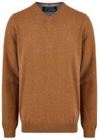 Pullover - V-Ausschnitt - braun
