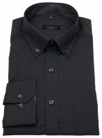Hemd - Comfort Fit - Button Down - Fil à Fil - schwarz