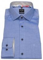 Hemd - Modern Fit - Struktur - Kontrastknöpfe - blau