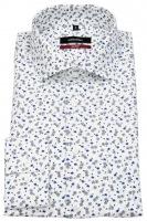 Hemd - Modern Fit - Haikragen - Print - weiß / blau / schwarz