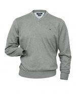 Pullover - V-Ausschnitt - grau