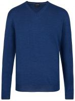 Pullover - Merinowolle - V-Ausschnitt - blau
