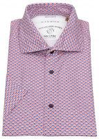 Kurzarmhemd - Regular Fit - Button Down - We Care - rot / blau