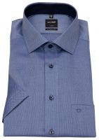 Kurzarmhemd - Modern Fit - Faux Uni - dunkelblau / weiß