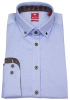 Hemd - Slim Fit - Button Down - Kontrastknöpfe - hellblau