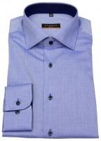 Hemd - Slim Fit - Stretch - Kontrastknöpfe - blau