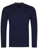 Pullover - Slim - V-Ausschnitt - Merino - dunkelblau
