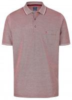 Poloshirt - Casual Fit - Piqué - dunkelrot / weiß