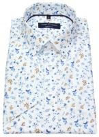 Kurzarmhemd - Modern Fit - Print - blau / braun / weiß