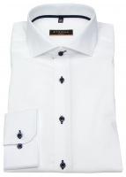 Hemd - Slim Fit - Stretch - Kontrastknöpfe - weiß