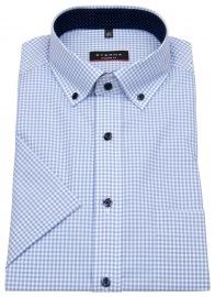 Kurzarmhemd - Modern Fit - Button Down - hellblau / weiß