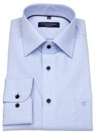 Hemd - Comfort Fit - Kontrastknöpfe - blau