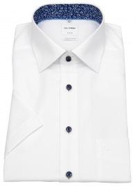 Kurzarmhemd - Comfort Fit - Patch - Kontrastknöpfe - weiß