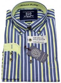 Hemd - Button Down - blau / gelb gestreift