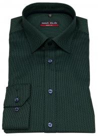 Hemd - Body Fit - Muster - grün / dunkelblau - 69cm Arm