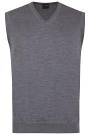 Pullunder - Merinowolle - V-Ausschnitt - grau
