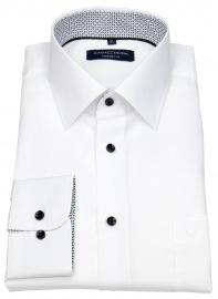 Hemd - Comfort Fit - Kontrastknöpfe - weiß