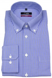 Hemd - Modern Fit - Button-Down Kragen - blau / weiß kariert