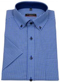 Kurzarmhemd - Modern Fit - Button Down - blau / weiß